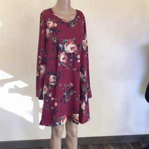 CHERISH burgundy floral sweater DrESs